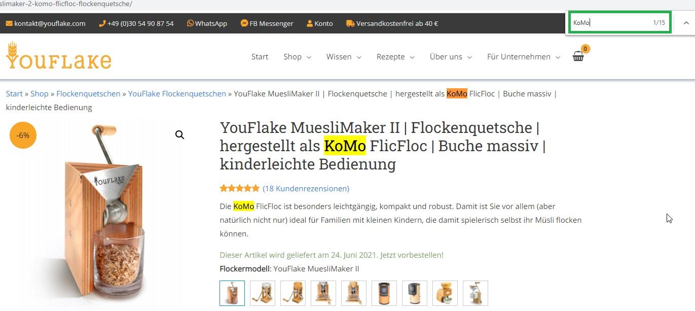Fokuskeyword KoMo bei YouFlake